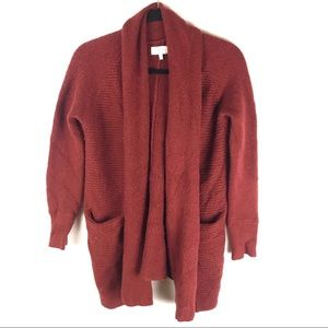 Lucky Brand S Maroon Open Front Cardigan Sweater
